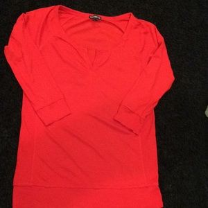 Women's Express Red Henley 3/4 Sleeve
